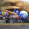 10' World Globes being carried in a march