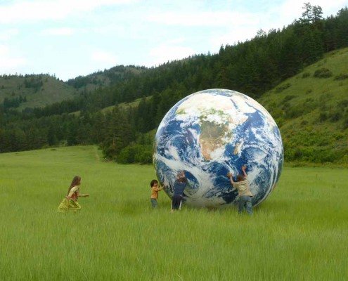 12' World Globe in a field