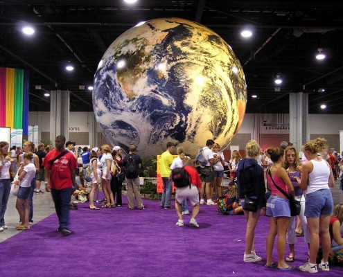 20' World Globe at a convention