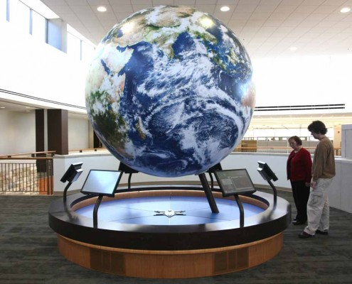 9' World Globe permanently installed in a museum