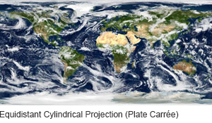NASA Blue Marble Plate Carree Globe Projection