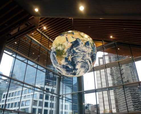 18' Internally Illuminated World Globe at the Vancouver Convention Center